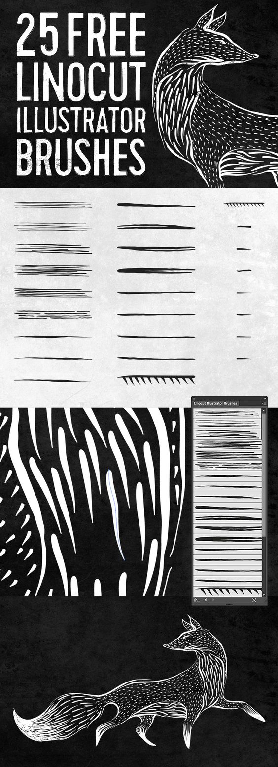 25 Free Linocut & Woodcut Brushes for Adobe Illustrator (275 KB) | blog.spoongraphics.co.uk | #free #brush #vector