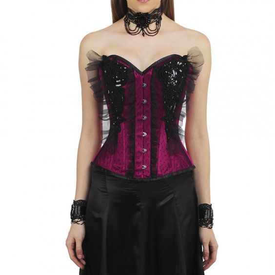 Lexie Melody Burlesque Satin Overbust Corset for Women | Vintage Goth | Enter the dazzling world of modern corsetry with the help of this modern wonder of an over-bust beauty! An authentic steel boned corset that leaves a lot to imagination while keeping an elegant feel to the look.