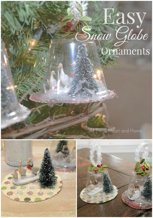 Easy snow globe ornaments the o 39 jays ornaments and for Easy homemade christmas snow globes