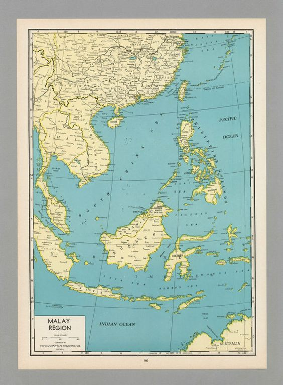Antique Vintage Map Malaysia Indonesia Singapore By
