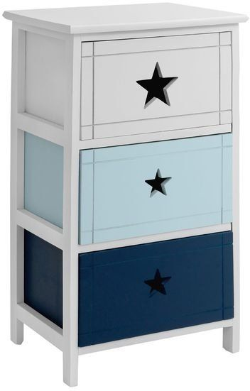 3 Drawer Wooden Star Chest in White and Blue (Chests of drawer)