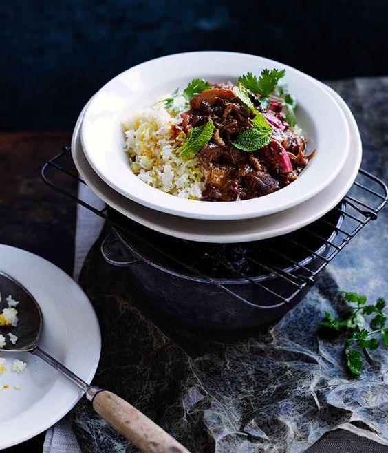 Persian lamb with rhubarb and chelow :: Gourmet Traveller Magazine Mobile