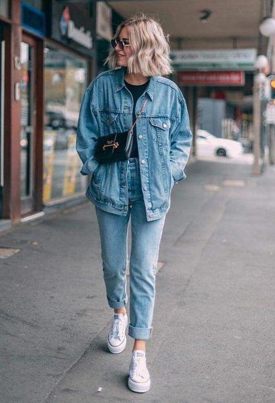 Look básico calça e jaquete