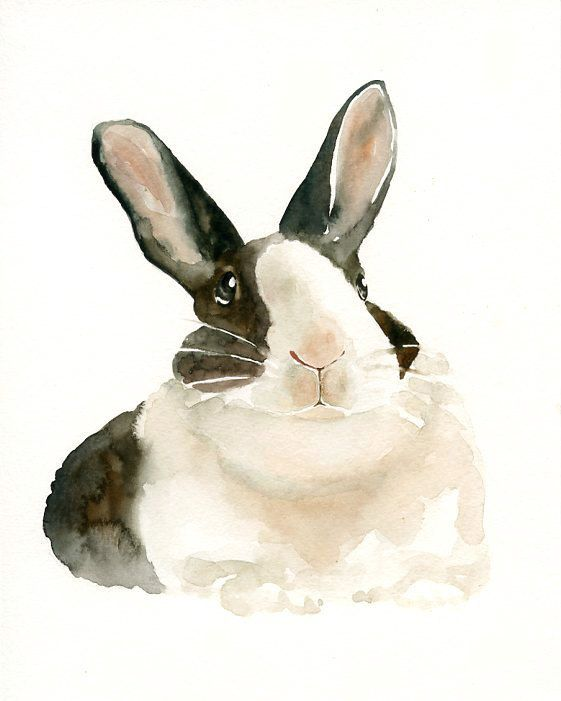 Domino for Easter custom of your BUNNY by DIMDI Original watercolour by dimdi, $38.00: