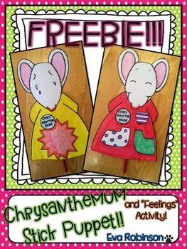 Crisantemo palillo de marionetas Craftivity- FREEBIE !!