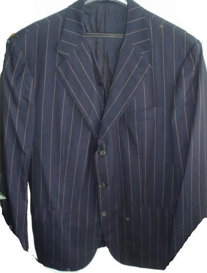 Kiton Sakko 100% Wolle dunkelblau gelb Gr 56