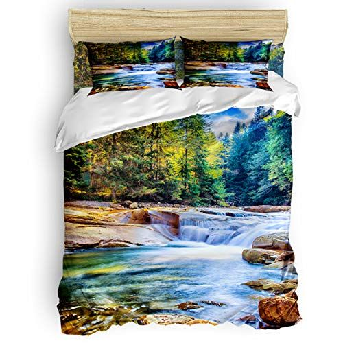 Queen Size 4 Piece Duvet Cover Set Beautiful Natural Scenery Fade