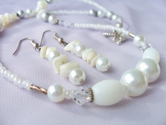 Elegant pure white shell, pearl, metal, glass and Swarovski crystal necklace and earring set by SparkleandComfort, $12.99