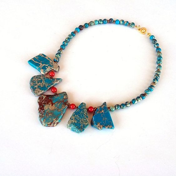 Turquoise Bib Necklace Statement Necklace Chunky by GULDENTAKI