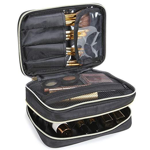 Lifewit Travel Makeup Case Makeup Bag Cosmetic Organizer Portable 2 Decker Makeup Pouch And Ho Makeup Storage Bag Makeup Bags Travel Makeup Bag Organization