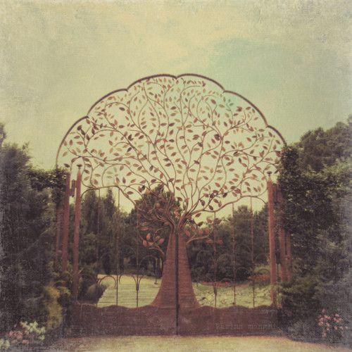 Art Nouveau garden gate in the shape of a tree, just beautiful