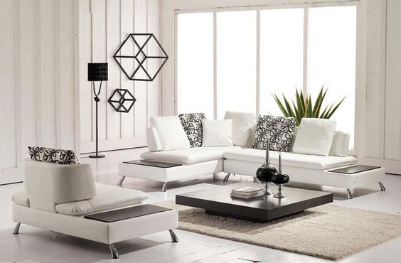 7727 - White Bonded Leather Sectional with Chair with Attached End Tables - Free Shipping