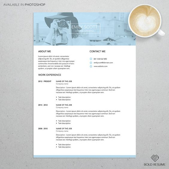 Professional Creative Resume Template for Photoshop by BoldResume