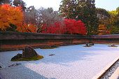 Japan Kinki Region Kyoto Prefecture Kyoto City View of rock garden at Ryoanji temple