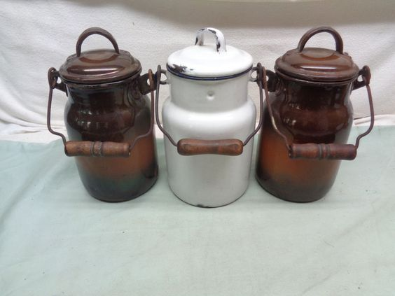 (3) Beautiful Antique Vintage Agate Enamelware Covered Milk Cans