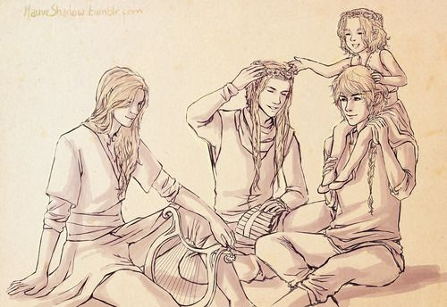Galadriel as a young girl with her brothers in Aman by mauveshadow from left to right: Finrod, Angrod, Aegnor, Galadriel