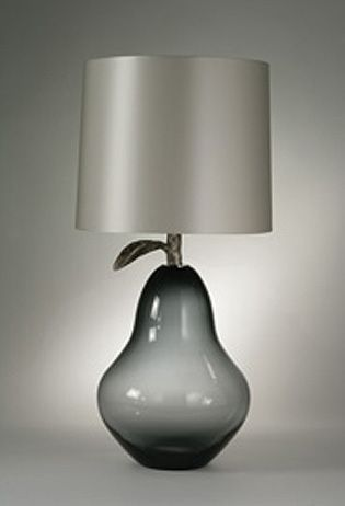 Glass pear lamp: Porta Romana: blown and molded glass and cast leaf. South Hill Home