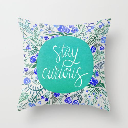 Stay Curious – Navy & Turquoise Throw Pillow