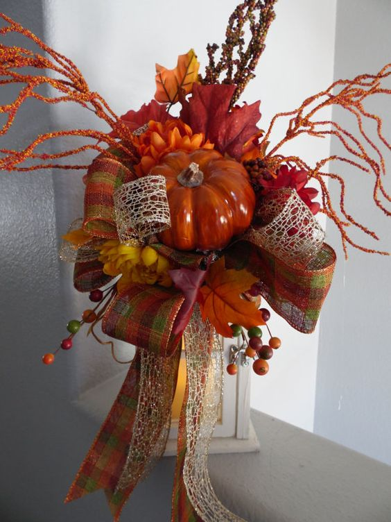 Fall Swag Lantern Fall Swag Pumpkin Swag Lantern by SwaymeVegas