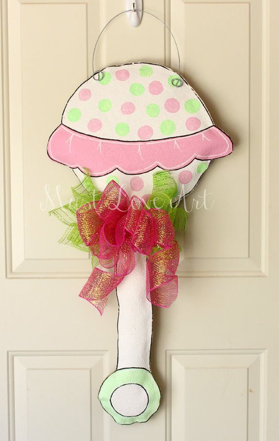 Baby rattle shower nursery burlap door hanger by for Baby shower door decoration