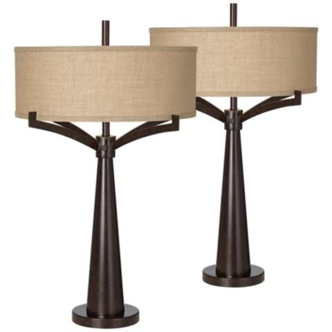 Tremont Bronze Iron Table Lamp Set of 2 #57R60 | Lamps