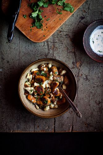 Curry-Spiced Kabocha Gnocchi with Roasted Cauliflower & Sriracha-Coconut Crème Fraîche by carey nershi, via Flickr