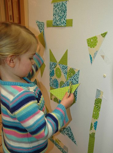 "Paper ""quilting"" magnets for kids."