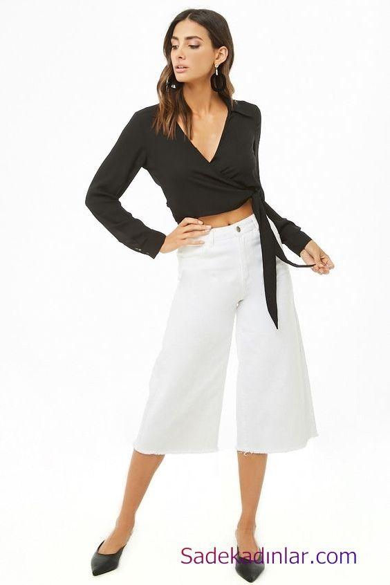 Siyah Gomlek Kombinleri Bayan Beyaz Bol Paca Capri Pantolon Beyaz Uzun Kol Kruvaze Yaka Gomlek Siyah Babet Ayakkabi Moda Stilleri Kiz Cocugu Modasi Siyah Babetler