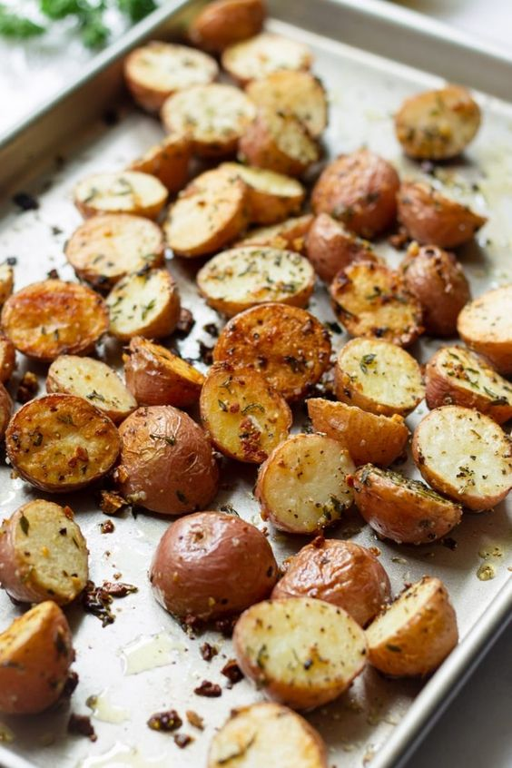 I love thesecrispy herb roasted potatoesbecause they are so tender, crispy, and garlicky. Roasted to perfection with fresh rosemary, thyme, and garlic. One of my favorite roasted potato side dishes!