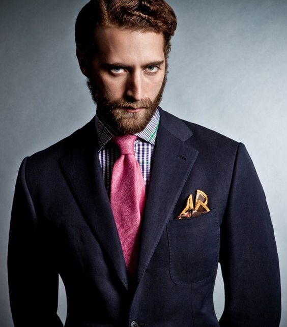 Drakes London Fw12 Navy Sport Coat Pink Tie Blue And