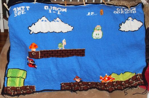 FO: Super Mario Bros blanket - KnittingHelp.com Forum