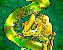 Gekrönte Chameleon (psychedelische Golden Mandala echse in grünen und gelben Copic Marker und Tinte auf Bristolkarton)