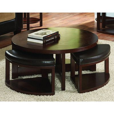 Homelegance Brussel II 40x40 Cocktail Table w/ 4 Ottomans
