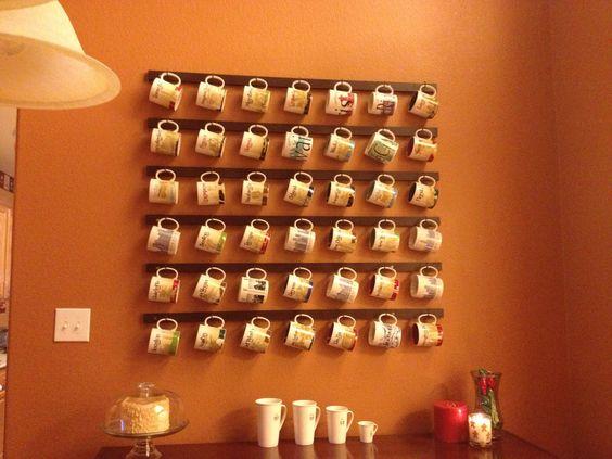 Pinterest coffee mug shelves coffee mug rack diy for for Coffee mug display rack