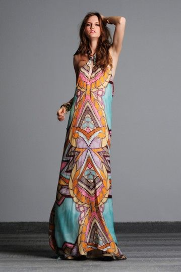 ALEXIS Sarina Halter Layered Long Silk Dress by Fresh &amp Flirty ...