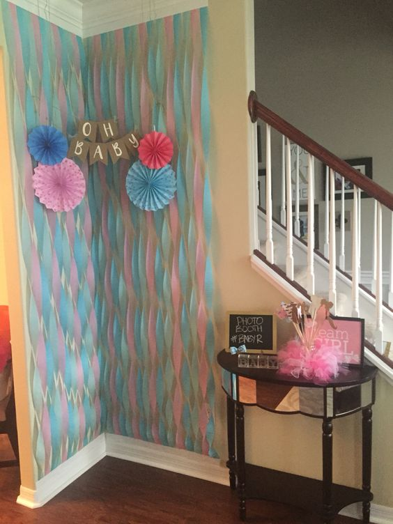 Photo booth idea for a gender reveal party…