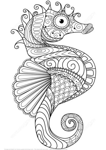 Caballito de Mar Zentangle Dibujo para colorear                                                                                                                                                     Más