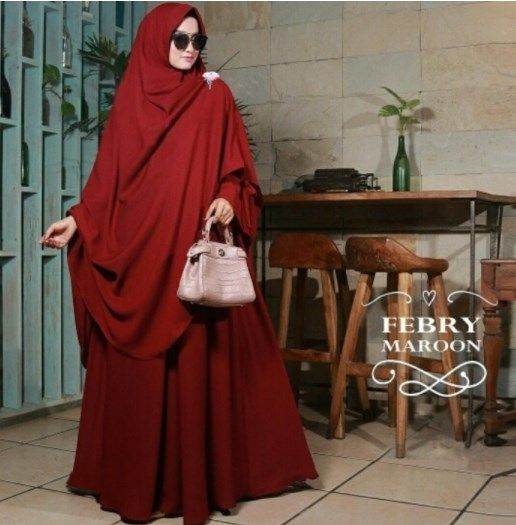 Jual Gamis Syari Polos Febry Maroon Model Pakaian Baju Muslim Wanita