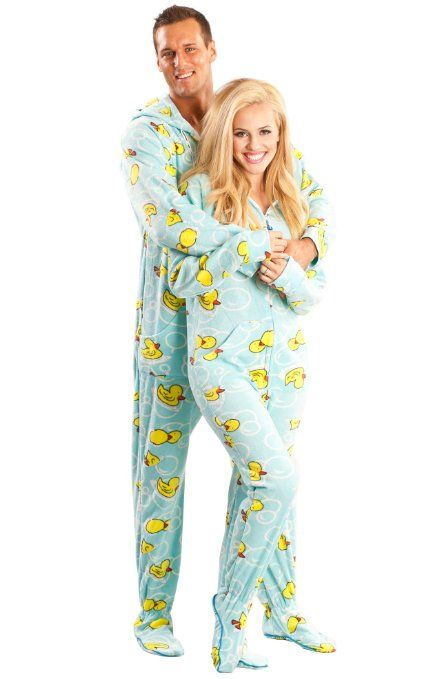 Matching Couples #Pajamas: Blue Ducks Footed Pajamas | couples ...