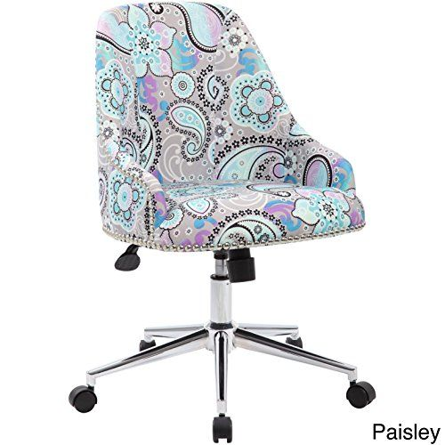 Fabric And Chrome Desk Chair Sturdy Silver Nail Head Trim Pneumatic Gas Lift Seat Height Adjustment Upright Locking Position Desk Chair Adjustable Office Chair Upholstered Desk Chair