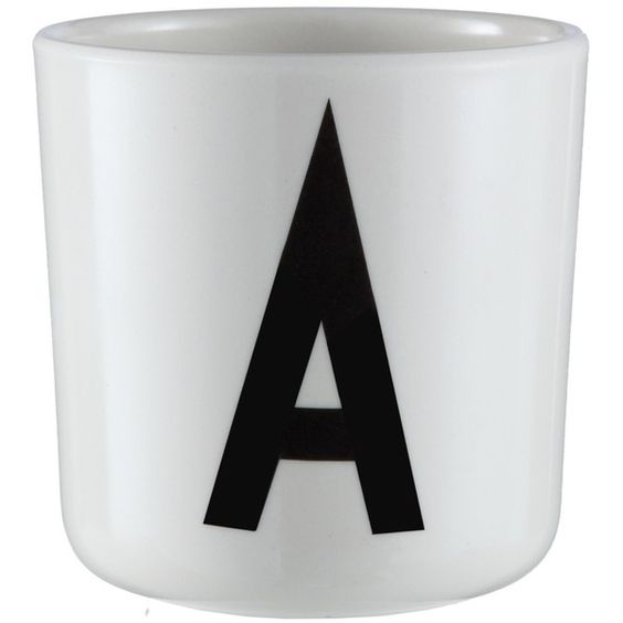 Design Letters Arne Jacobsen melanin letter cup (€6) ❤ liked on Polyvore featuring black and letters