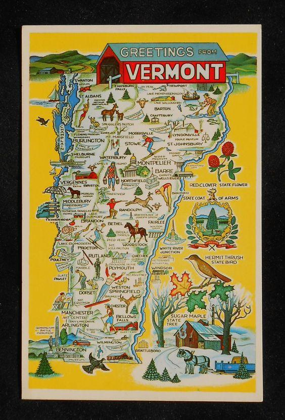 Vermont State Map Vermont State Map Landmarks Icons Bird