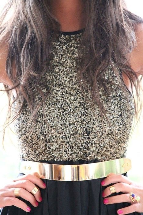 sequins and gold belt