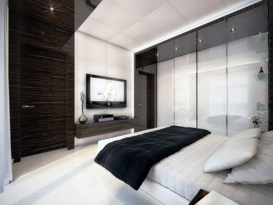 Black and White Bedroom with white pillow plus black blanket
