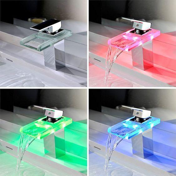 Ihre Wasserhähne sehen ein wenig unscheinbar aus? Dann bringen Sie doch etwas Farbe und Pep in Ihr Zuhause! Mit der günstigen LED-Waschbeckenarmatur haben Sie einen tollen und stylischen Blickfang: www.lustige-gadgets.com/led-wasserfall-wasserhahn/