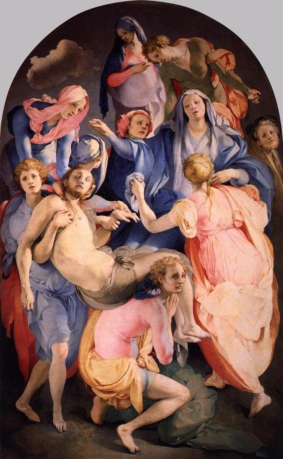 Для жителей Коринфа я вдохновлялся творчеством Понторно и Россо Фиорентино и использовал розовый, красный, фисташково-зеленый. Джакопо Понтормо. Снятие с креста. 1525-1528. Алтарная картина в капелле Каппони церкви Санта-Феличита во Флоренции