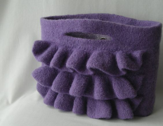 Felted Wool Nashville Bag - hand knit purse handbag with ruffles in deep lave...