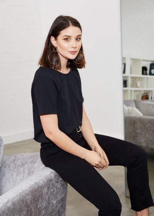 Black t-shirt, jeans & gold hoops | @styleminimalism