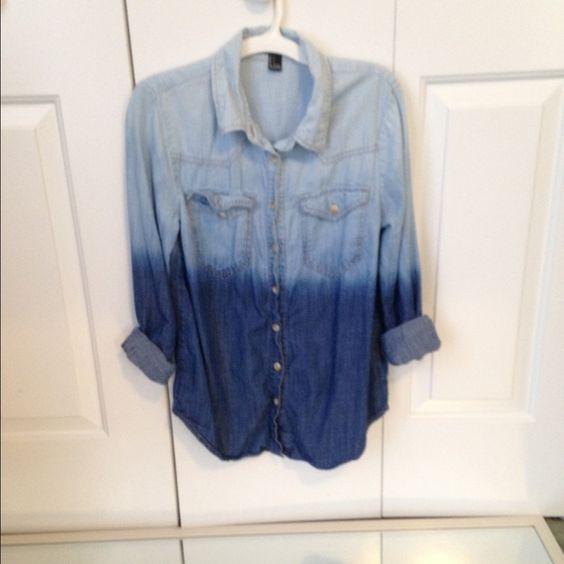 Denim Ombré button down shirt dark blue and light blue ombré shirt Forever 21 Tops Button Down Shirts
