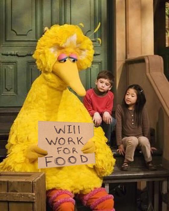 "via twitter: @FiredBigBird ""Look what Mitt Romney did to me."""